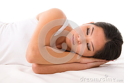 Asian woman asleep