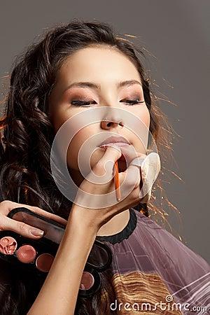 Asian woman in a beauty salon.