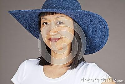 Asian Woman in Blue Straw Hat