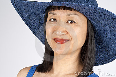 Asian Woman in Blue Straw Hat