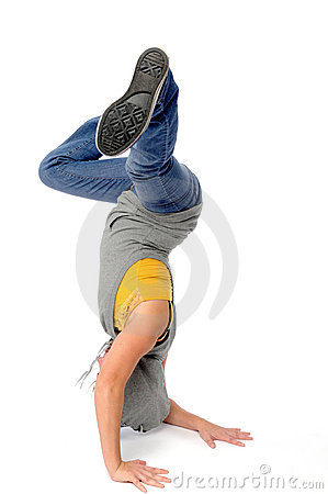 Asian woman break dancing