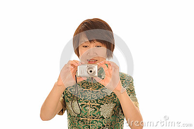 Asian woman with camera