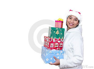 Asian Woman with Christmas Gifts