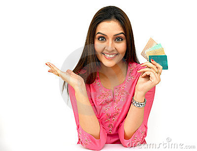 Asian woman with a credit cards