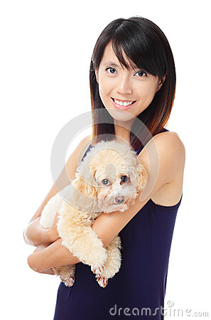 Asian woman with dog poodle