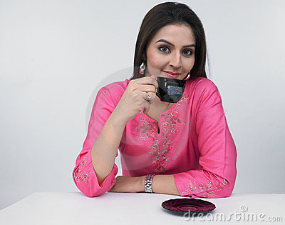 Asian woman drinking tea