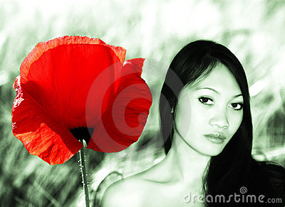 Asian Woman and A Flower