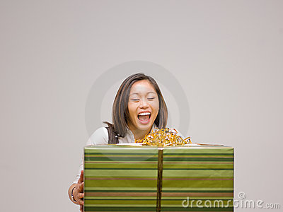 An Asian woman and a gift
