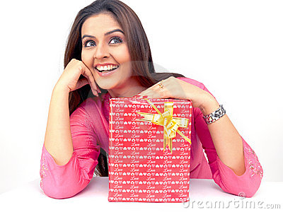 Asian woman with a gift box