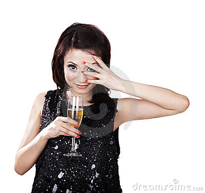 Asian woman with a glass of champagne