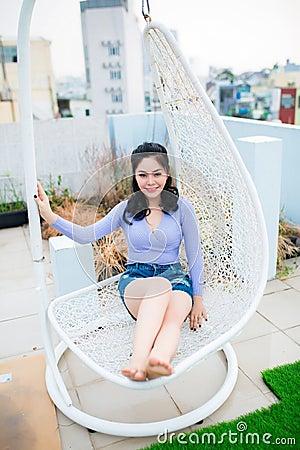 Asian Woman In Hammock Chair Free Public Domain Cc0 Image