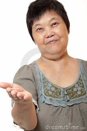Asian woman hand showing blank sign