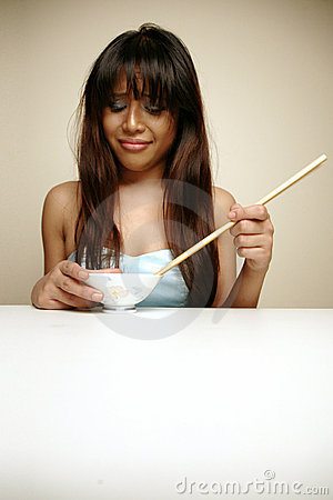 Asian woman hating her food