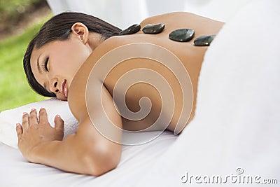 Asian Woman Health Spa Hot Stone Treatment Massage