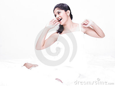 Asian woman in her negligee