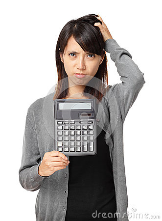 Asian woman holding calculator