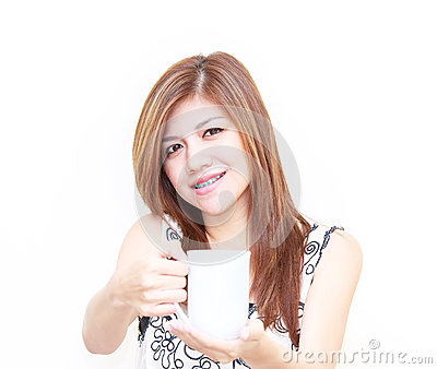 Asian woman holding a cup concept