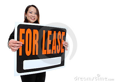 Asian Woman Holding Lease Sign