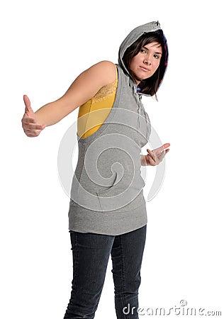 Asian woman in hood
