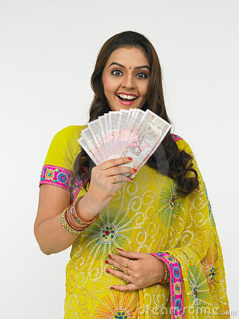 Asian Woman With Indian Money Stock Photos Image 6783423