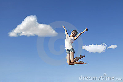 Asian woman jumping happily