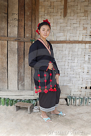 Asian woman in national costume, Laos