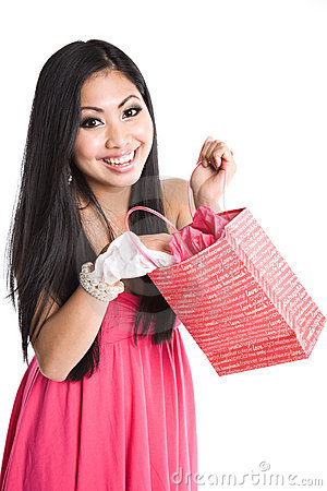 Free Asian Woman Opening Valentine Gift Stock Photography - 7127532