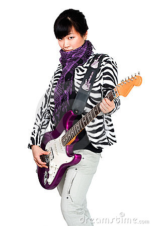 Asian woman with purple guitar