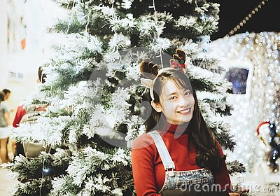 Asian Woman With Reindeer Ears Free Public Domain Cc0 Image