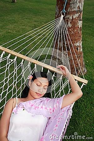 Asian woman relax at beach