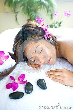 Asian woman restful  in spa
