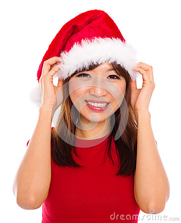 Asian woman in santa clause hat