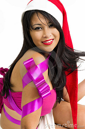 Asian woman with Santa hat