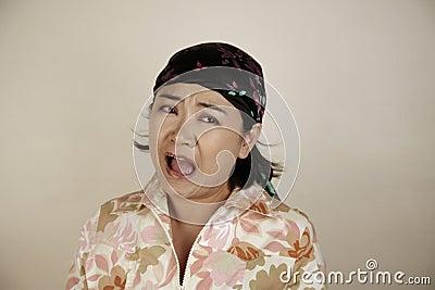 Asian woman screaming