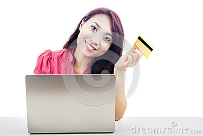 Asian Woman shopping online