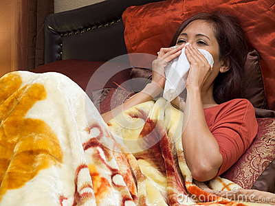 Asian woman sick of colds