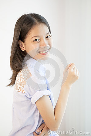 Asian woman  with smiling face nice emotion