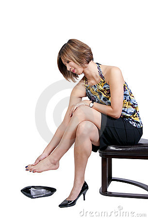 Asian Woman with Sore Feet