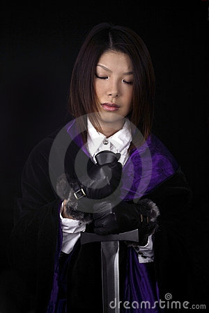 Asian woman with sword