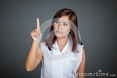 Asian woman touching the screen