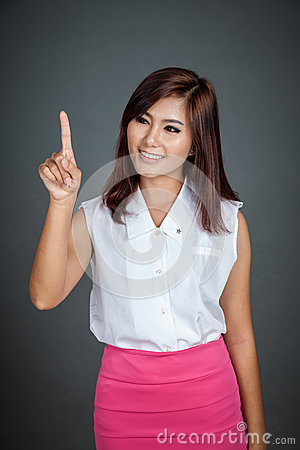 Asian woman touching the screen and smile