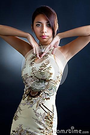 Asian woman in traditional oriental  dress