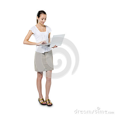 Asian Woman Using her Laptop while Standing