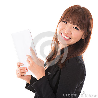 Asian woman using a tablet pc