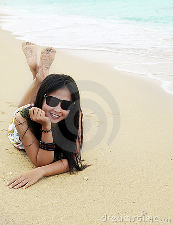Asian woman vacation at beach