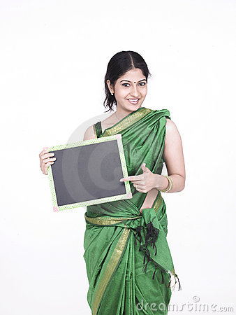Asian woman witha black board