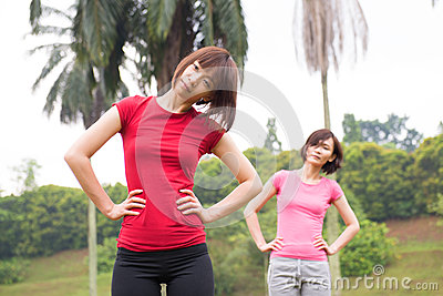 Asian woman workout outdoor
