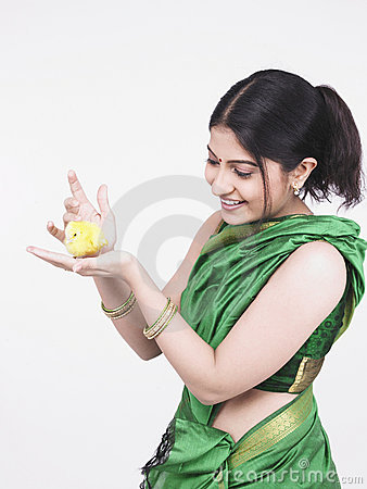 Asian woman with a yellow chick