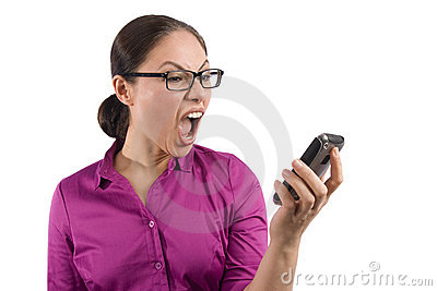 An asian woman yells at her cellphone