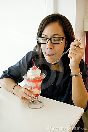 Asian women eating ice cream
